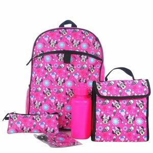 Minnie Mouse Backpack & Lunch Bag 5-piece Set